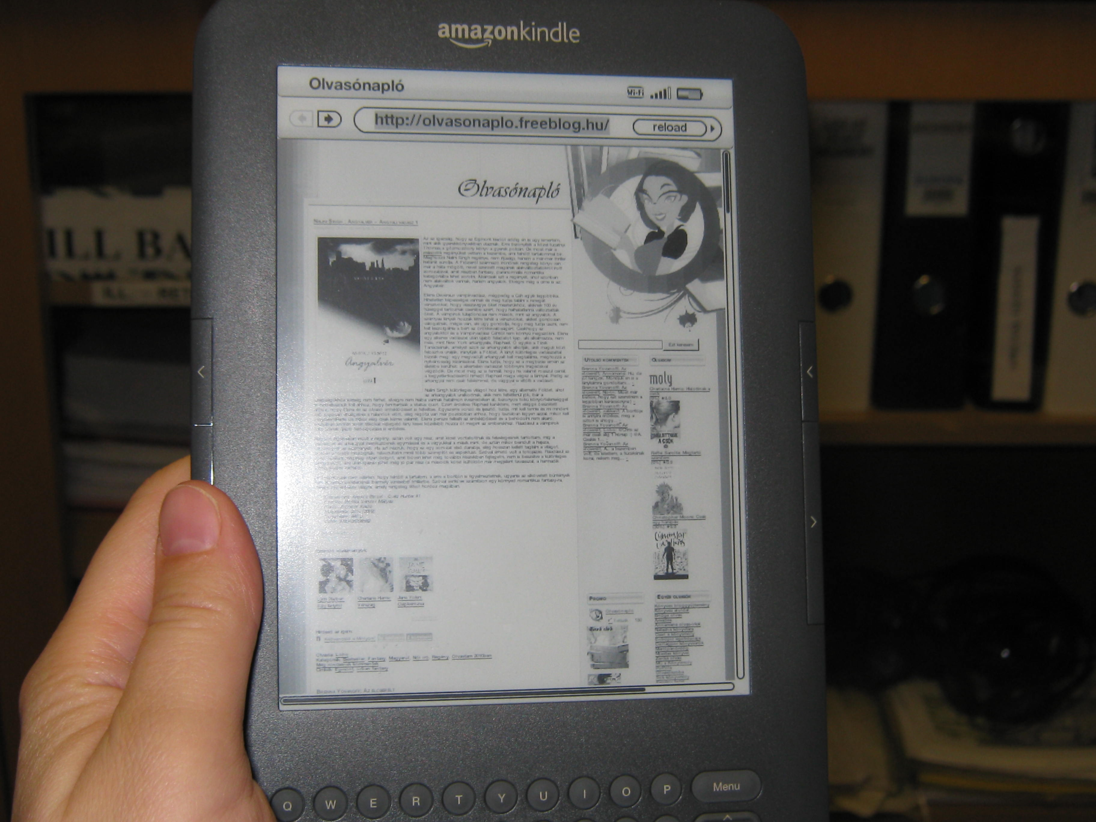 Olvasonapló on Kindle 3